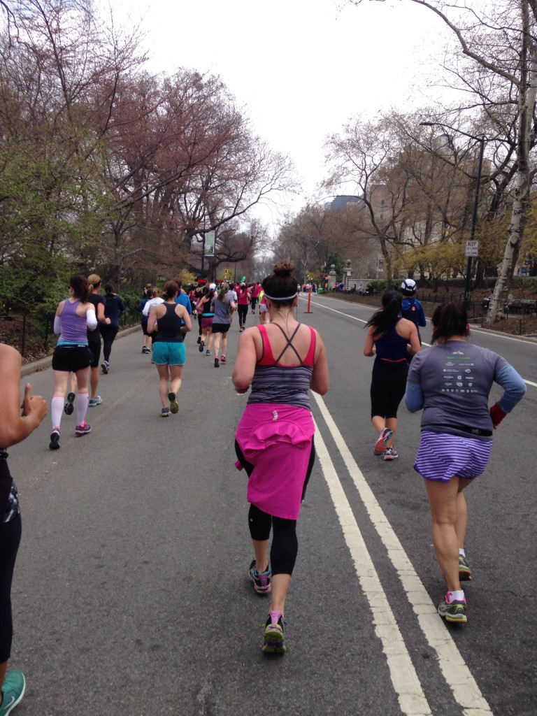 training for my first half marathon, the more fitness magazine women's half marathon in central park. Runners in NYC on race day.
