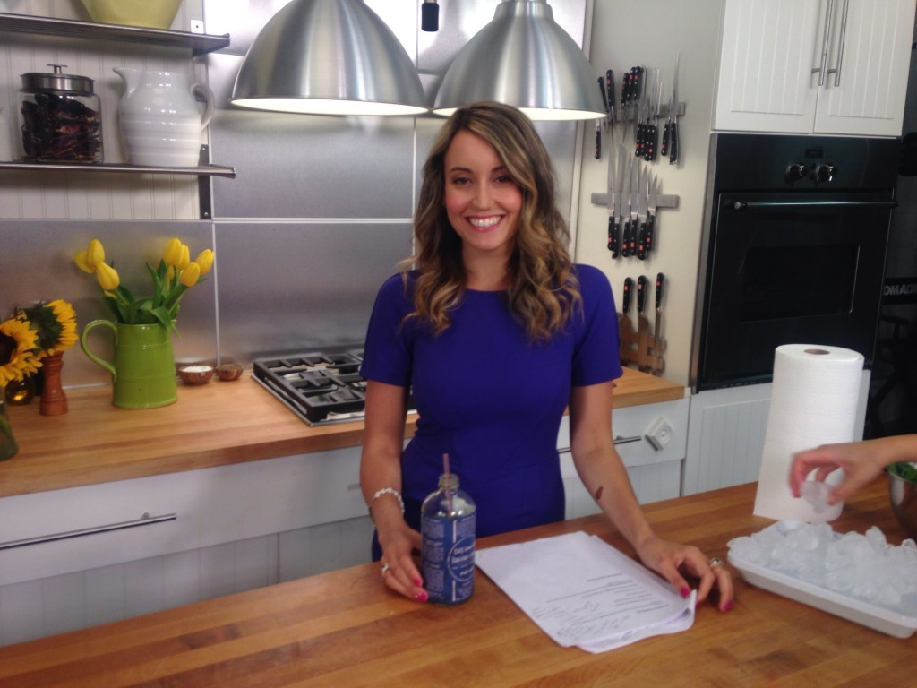 Day 3 of my juice cleanse, on set filming healthy cooking videos for Shape.com