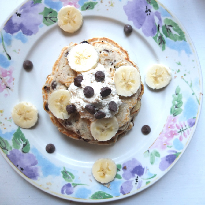Banana Chocolate Chip Vegan Pancakes